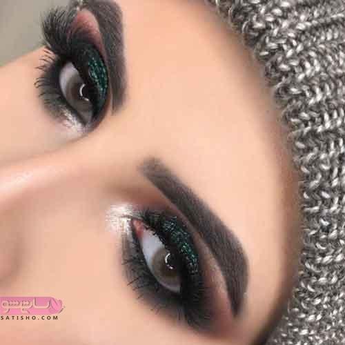 مدل ارایش چشم ملایم زیبا اکلیلی سبز