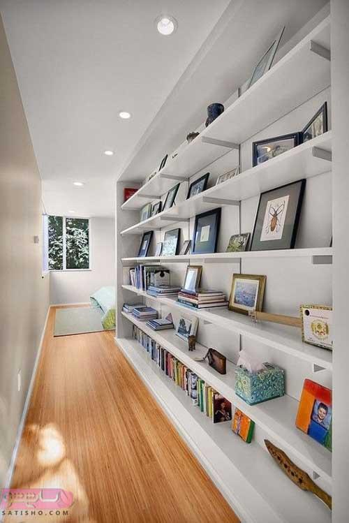 مدل دکوراسیون قفسه کتابخانه ورودی راهرو