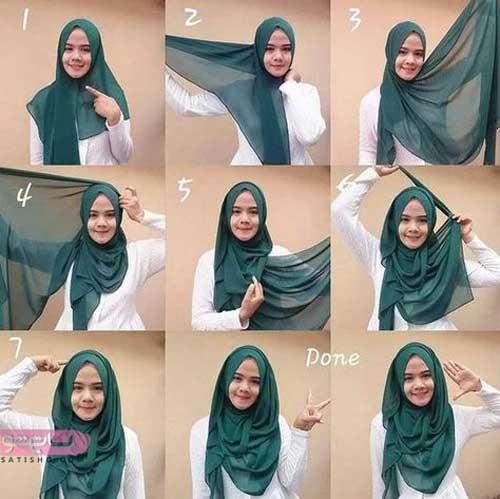 آموزش بستن روسری قواره بزرگ نخی