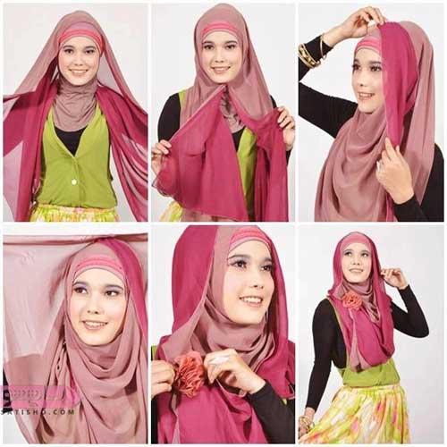 آموزش تصویری مدل بستن روسری بی حجاب دخترانه