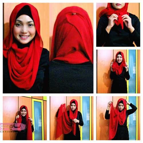 آموزش بستن روسری و شال قرمز گام به گام