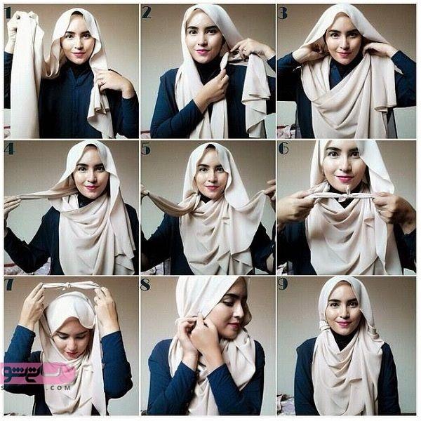 مدل بستن روسری بزرگ بی حجاب