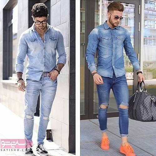 ست لباس مردانه جین با شلوار