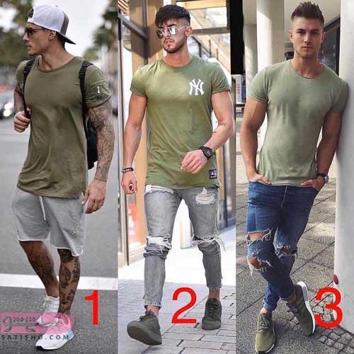 مدل ست پیراهن مردانه سبزرنگ اسپرت
