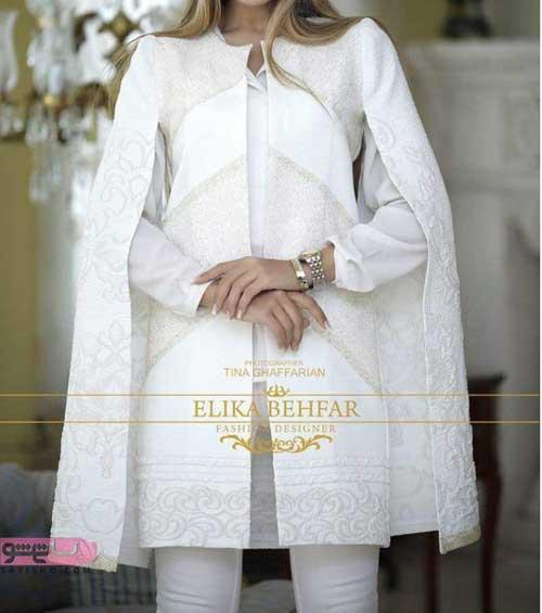 مدل مانتو سفید مجلسی بلند زنانه