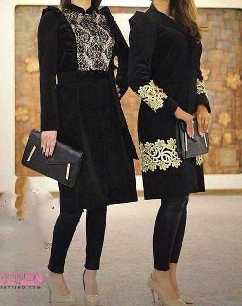 مدل مانتو مشکی با خرجکار طلایی و شیک مخصوص دختران شیک پوش