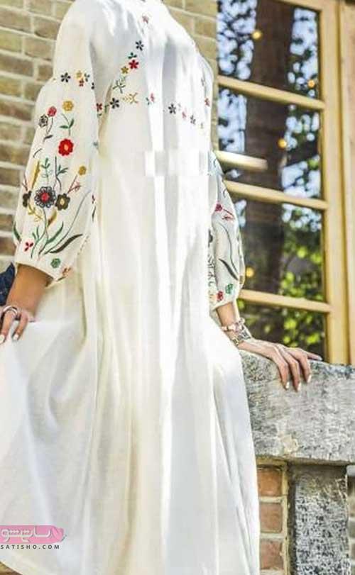 نمونه مانتو مجلسی سفید با گلدوزی های سنتی