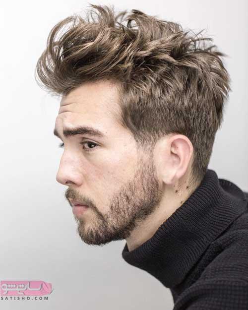 مدل موی شلخته با ریش کوتاه مردانه