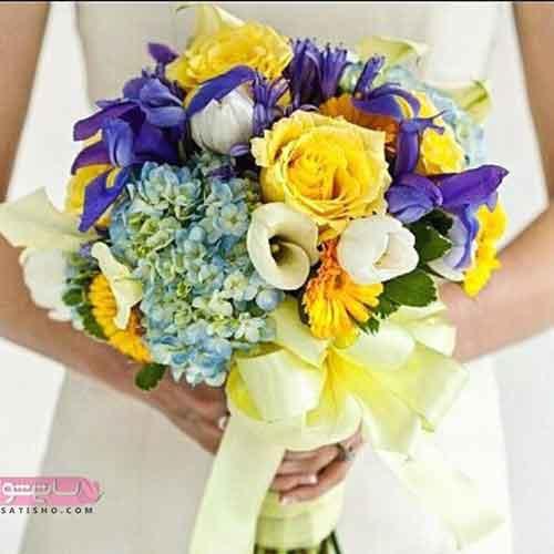 دسته گل عروس چند رنگ