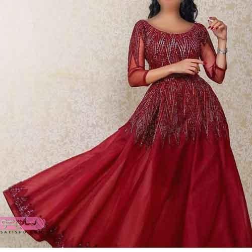 مدل لباس نامزدی زرشکی