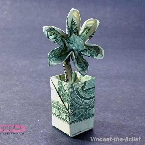 تزیین پول به شکل گلدان