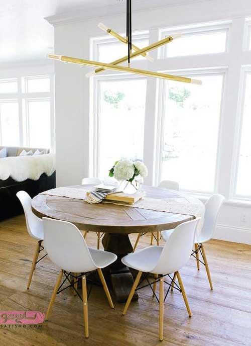 میز ناهارخوری گرد طرح چوب با صندلی سفید