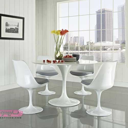 میز ناهارخوری گرد تمام سفید مناسب منازلی با سبک فانتزی