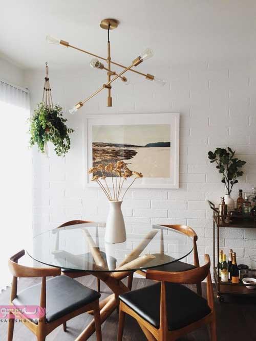 لوستر ساده و شیک بالای مدل میز غذاخوری