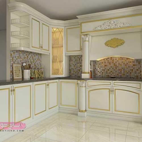 مدل کابینت طلایی و سفید لاکچری