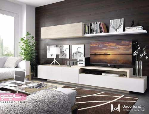 مدل کابینت رنگ روشن برای اتاق نشیمن