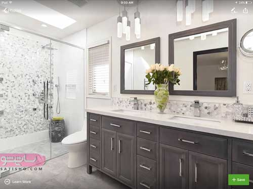 آینه دسشویی قاب دار برای منازل آپارتمانی