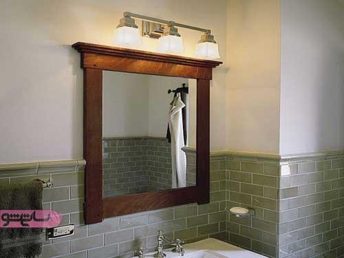 آینه ام دی اف با قاب چوبی برای سرویس بهداشتی