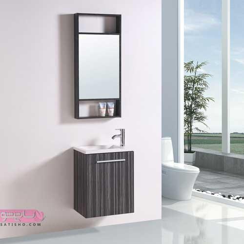 آینه تکی ساده با روشویی کابینت دار برای منازل کوچک