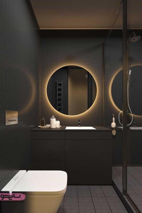 مدل آینه دستشویی چوبی همراه با نورپردازی مخفی