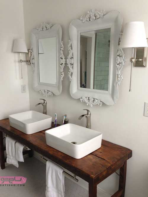 مدل آینه دستشویی سلطنتی سفید رنگ مدرن و جذاب