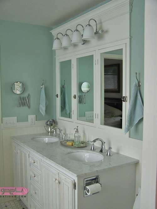 مدل آینه دستشویی mdf سفید رنگ طرح جدید و امروزی