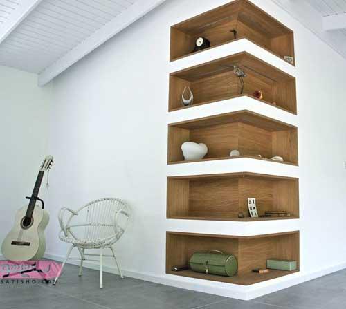 تصاویر مدل شلف و باکس چوبی ، شیشه ای و فلزی مدرن برای قرار دادن وسایل دکوری