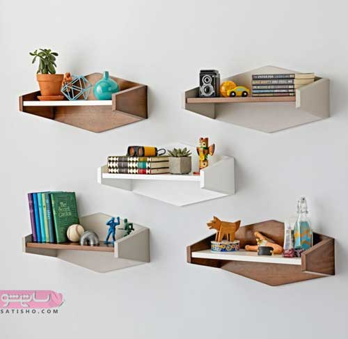 مدل شلف و باکس چوبی کنار میز ال سی دی