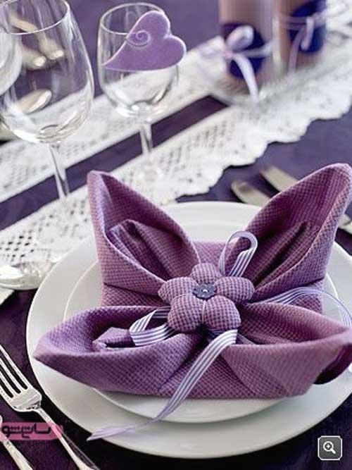 ایده برای تا کردن دستمال سفره به شکل گل