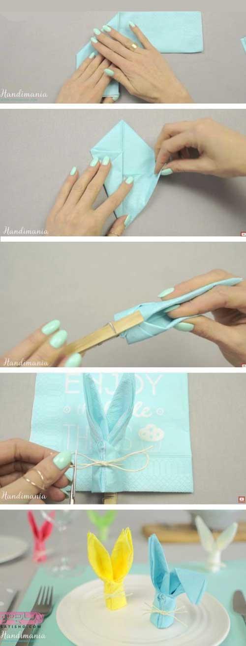 آموزش تصویری تا کردن دستمال به شکل خرگوش