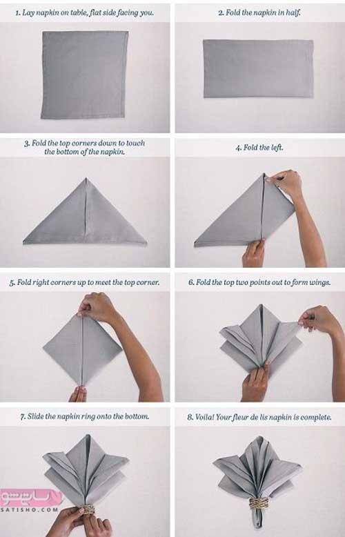 آموزش تصویری تا کردن دستمال به شکل ها مختلف