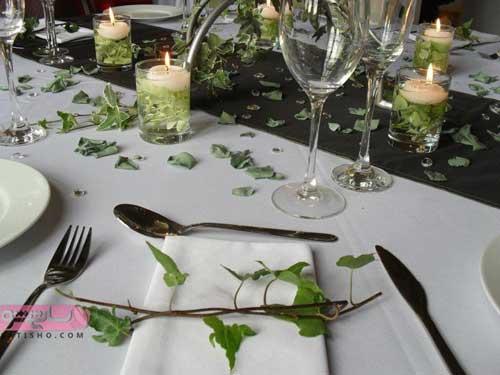 ایده برای تزیین سفره با دستمال و گل و گیاه