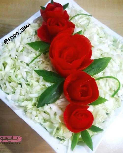 عکس تزیین گوجه فرنگی به شکل گل رز برای سالاد فصل