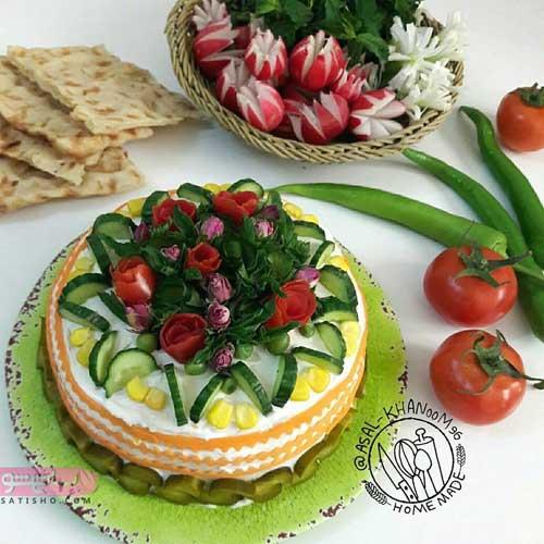 عکس های تزیین سالاد الویه مجلسی به صورت کیک