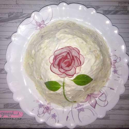 ایده های جدید تزیین سالاد الویه به شکل های گل رز