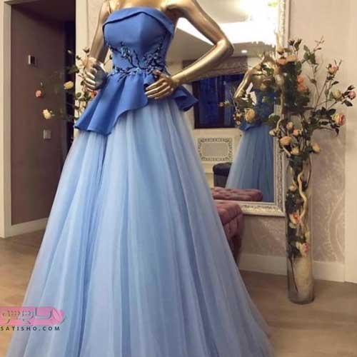 خرید اینترنتی مدل های لباس شب زنانه با دامن تور