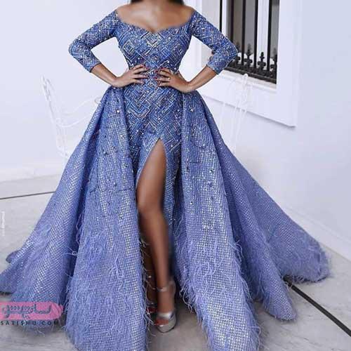 مدل لباس مجلسی زیبا و بلند 2019 حریر حاشیه دار