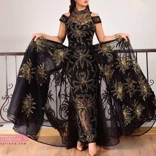 انواع مدل لباس مجلسی زنانه شیک و بلند دنباله دار