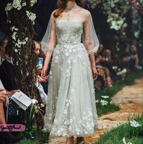 انواع مدل لباس مجلسی شیک آستین دار با گیپور