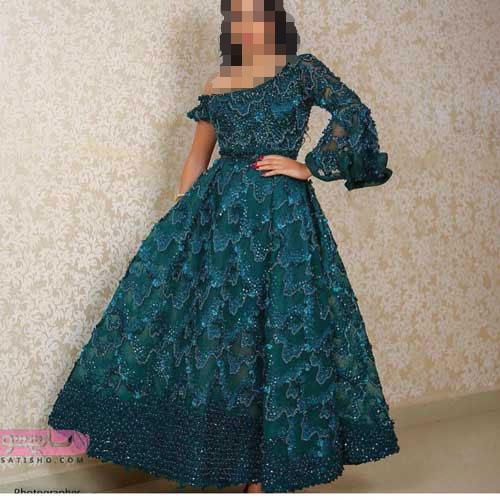 زیباترین مدل لباسهای مجلسی شیک با بالاتنه گیپور 98 - 2019