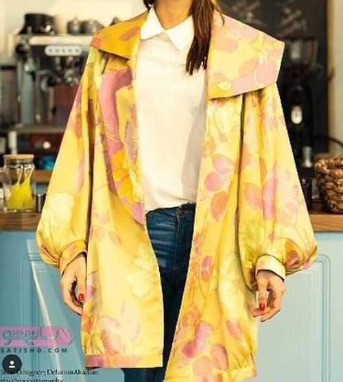 انواع مدل مانتو عید 98 استین پوفی زرد رنگ