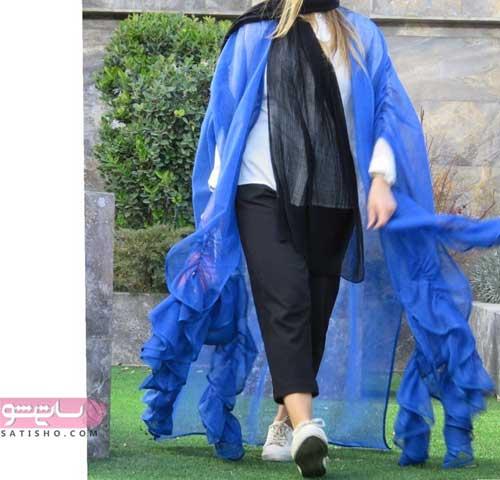 عکس هایی از مدل مانتو با پارچه حریر مخصوص تابستان ابی رنگ