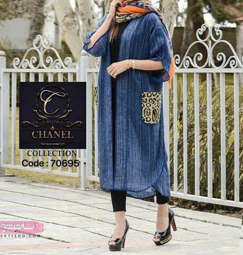 مدل مانتو تابستانه جلوباز دخترانه با طرح پلنگی روی جیب