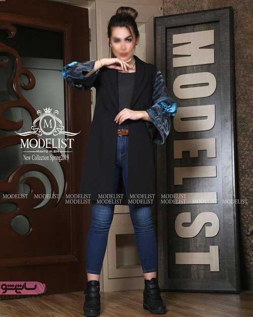 البومی خاص از انواع مدل مانتو دخترانه 2019 مشکی رنگ با شلوار لی ابی