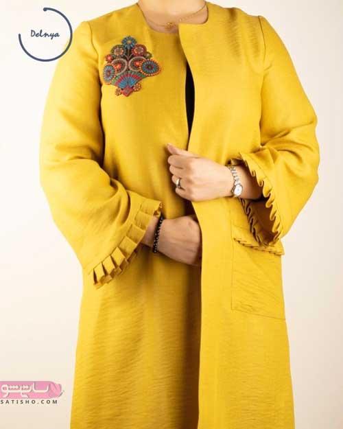 نمونه مانتو جدید خردلی رنگ برای دختران شیک پوش