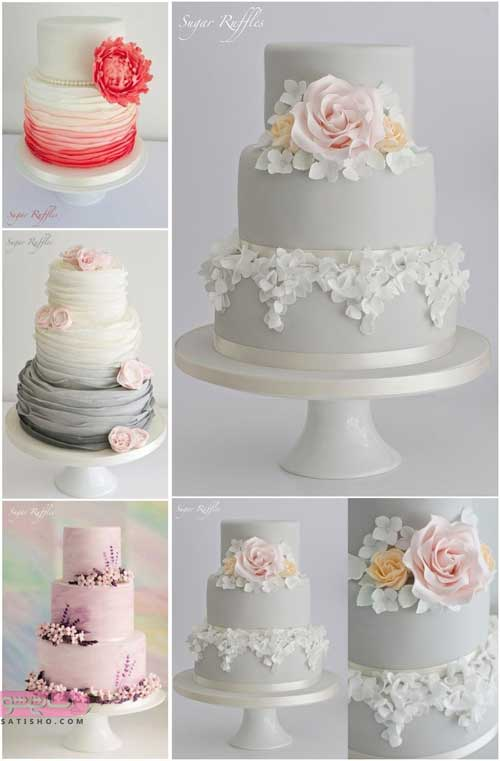 مدلهای متنوع و جدید در یک تصویر از تزیین کیک عروسی