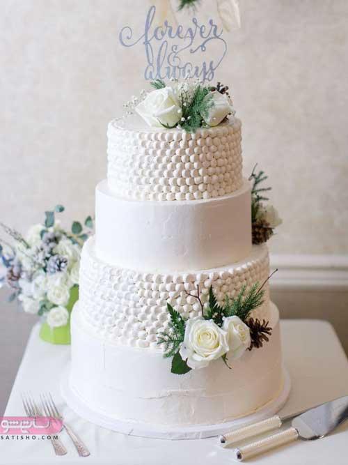 تزیین کیک با گل برای عروس