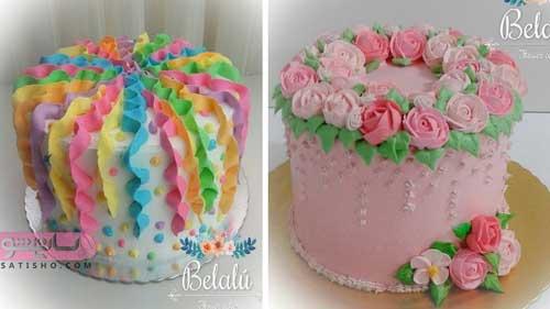 مدل های زیبای شکوفه زدن روی کیک با خامه