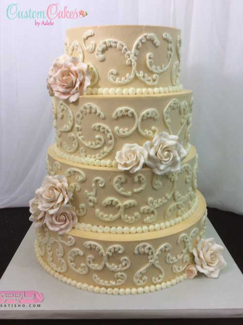 تزیین کیک کرم رنگ مناسب جشن بله برون عروس خانم ها