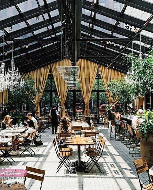 مدل دکوراسیون رستوران با سقف باز